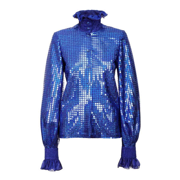 JIRI KALFAR Royal Blue Sequin Shirt