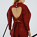 Angle Open Back Top In Red Leather image