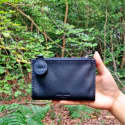 Sydney Double Sided Zips Leather Currency Wallet Black image