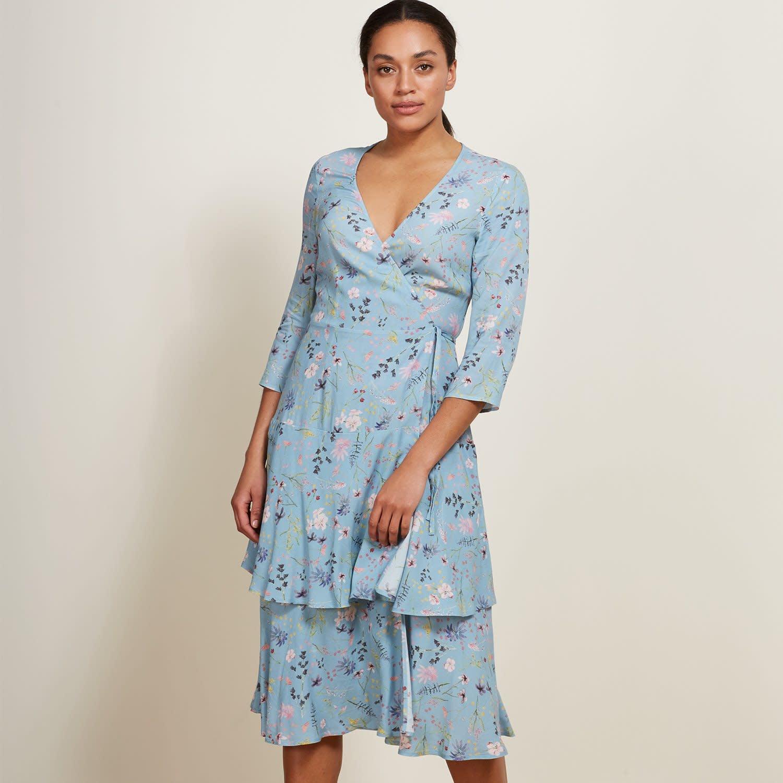 b8bd66e610be3 Kaia Wrap Dress In Light Blue Meadow Floral | Baukjen | Wolf & Badger