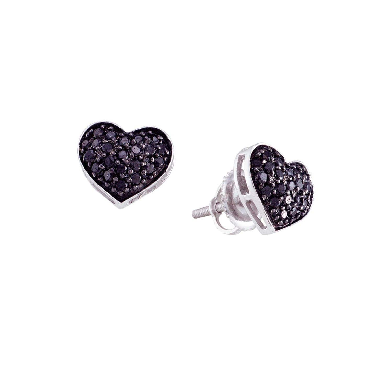 Black Diamond Pave Heart Earrings In 14k White Gold Cosanuova Wolf Badger