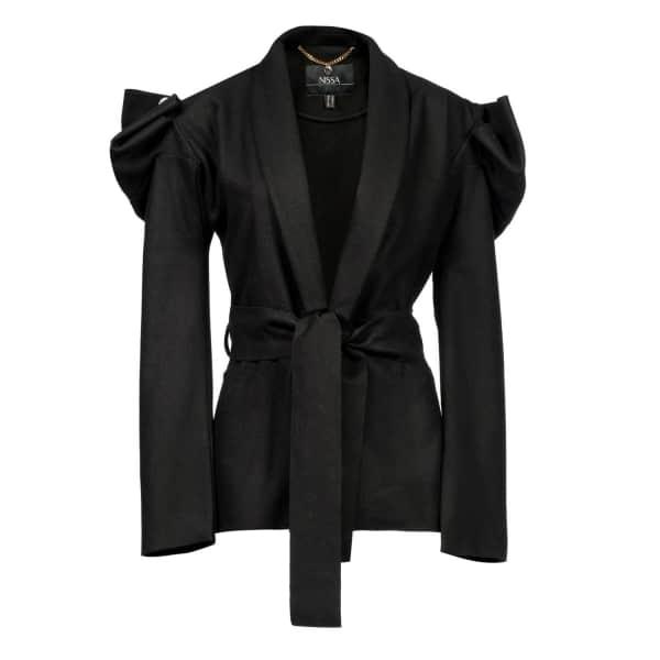 NISSA Elegant Coat With Waist Belt & Puffed Sleevs