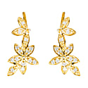 Diamond Flowers Ear Climber Gold image