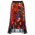 Pleated Midi Satin Skirt With Lace image