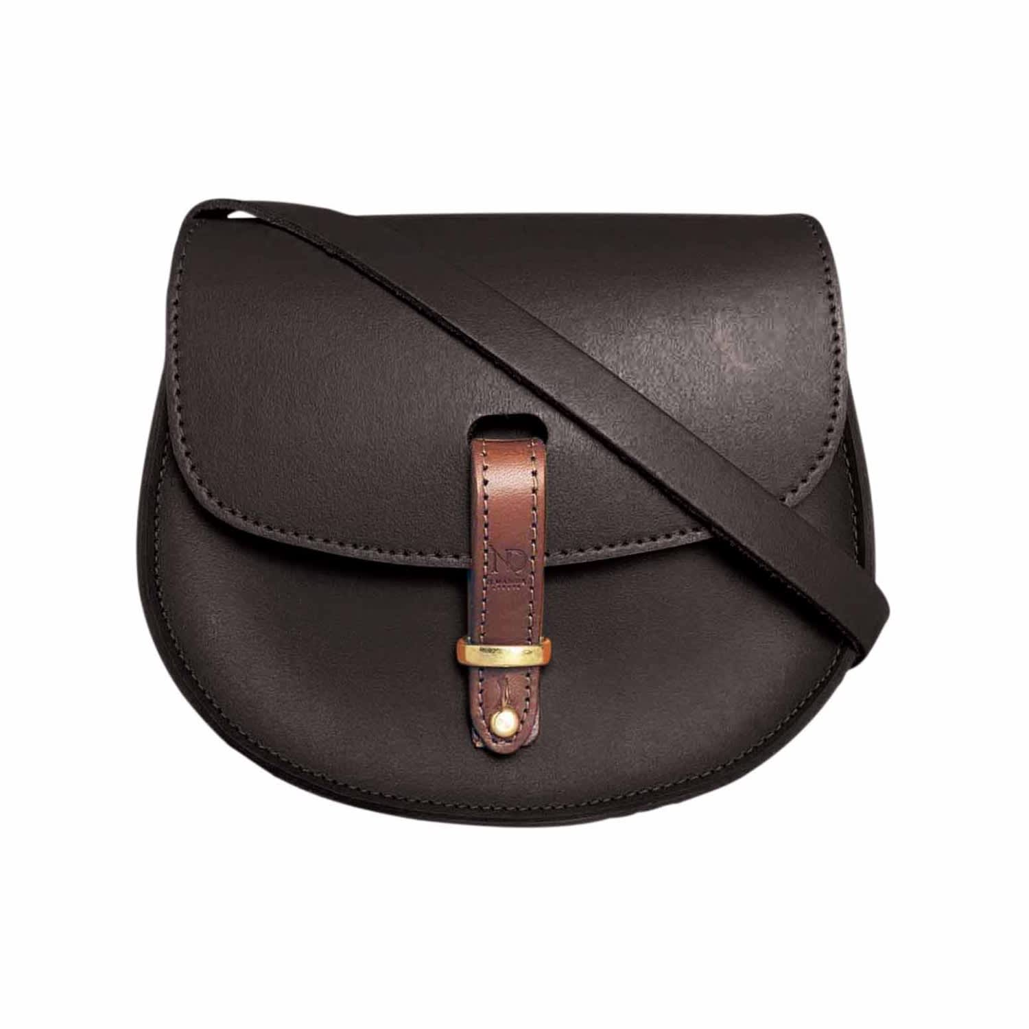 elegant and sturdy package shop for official agreatvarietyofmodels Mini Victoria Black Leather Crossbody Saddle Bag by N'Damus London