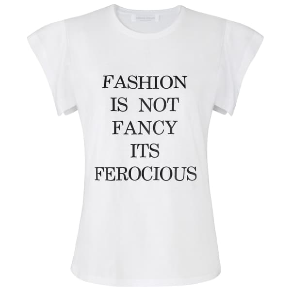 SIOBHAN MOLLOY White Fashion Is Not Fancy Fly-Away Sleeve T-Shirt
