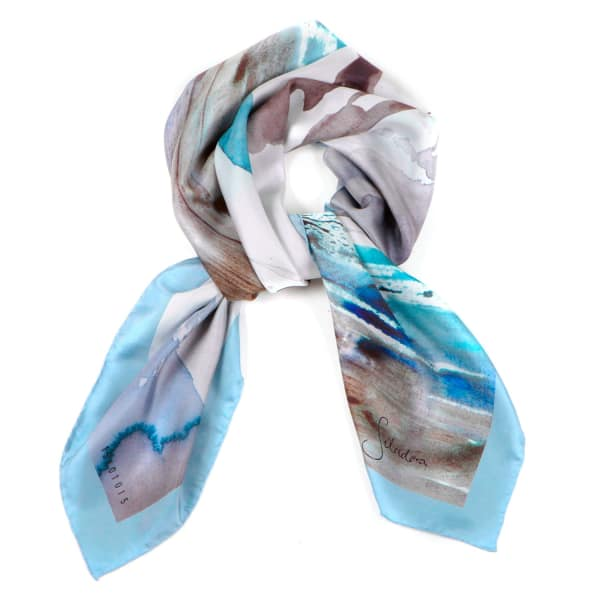 blue pacific seascapes silk scarf siladora wolf badger
