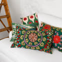 Green Hand Embroidered Suzani Cushion With Ikat Reverse image