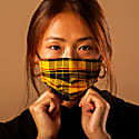 Yellow Plaid 100% Liberty Cotton Designer Face Mask image