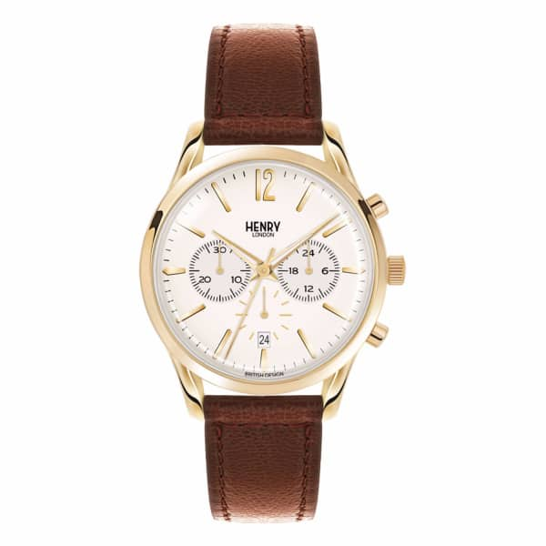 HENRY LONDON Unisex 39Mm Westminster Chronograph Leather Watch
