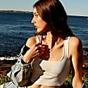 Raw Rose Quartz Amara Necklace - Gold image