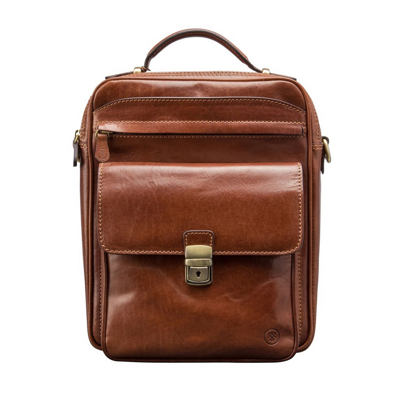 f8cd61191a Luxury Italian Leather Men s Large Shoulder Bag Santino L Chestnut ...