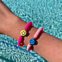 Smiley Face Bead Bracelet Neon Pink image