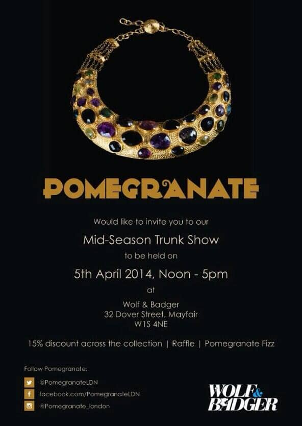 Pomegranate Trunk Show invite