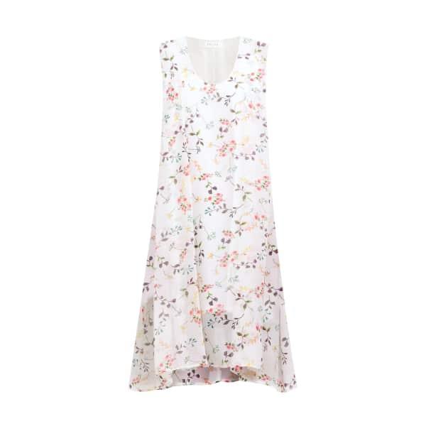 Draped Floral Dress With Side Split