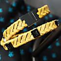 Yellow Leather Wrap Tarmac Bracelet With Black Studs image