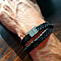 Black Leather Double Wrap - Stark Silver image