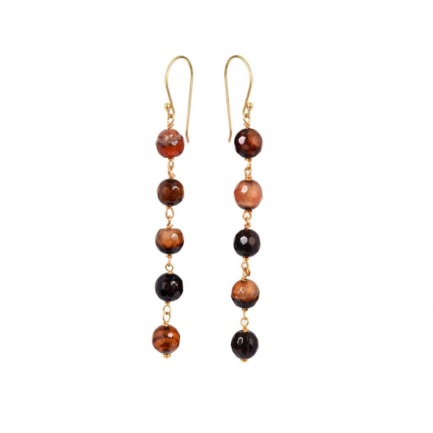 Bella Five Stone Earrings Brown Agate by Mirabelle Jewellery