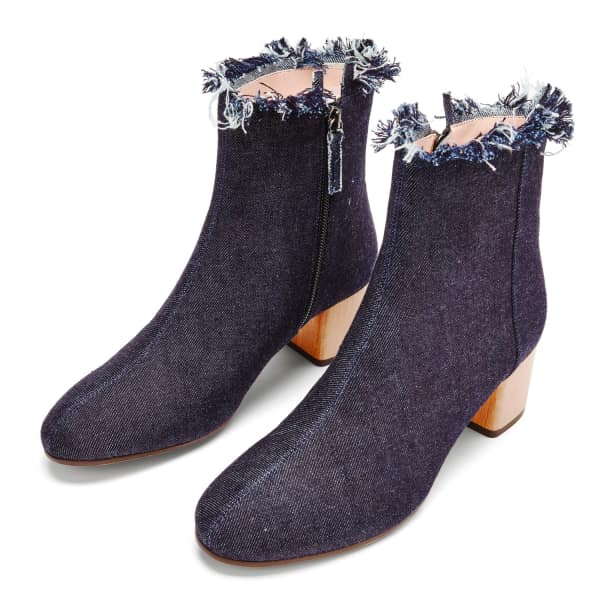 NINE TO FIVE Ankle Boot Strand Raw Denim in Blue