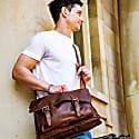 Leather Messenger Satchel Bag In Vintage Brown image