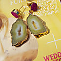 Yellow Pink 'African Slice' Gold Gemstone Earrings image