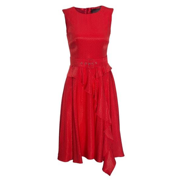Clos Dress With Ruffles & Waist Belt