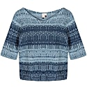 One-Of-A-Kind Three-Quarter Sleeve Knitted Cotton Jumper Denim Wasted Blue image