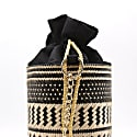 Black Cabo Straw Bucket Bag Black image
