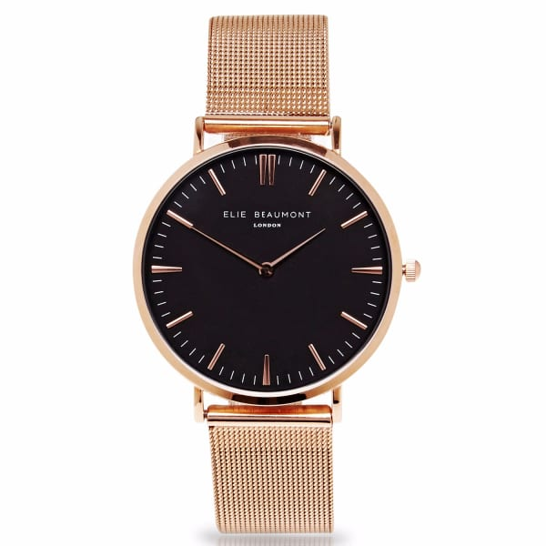 ELIE BEAUMONT Oxford Small Rosegold Black Dial Mesh
