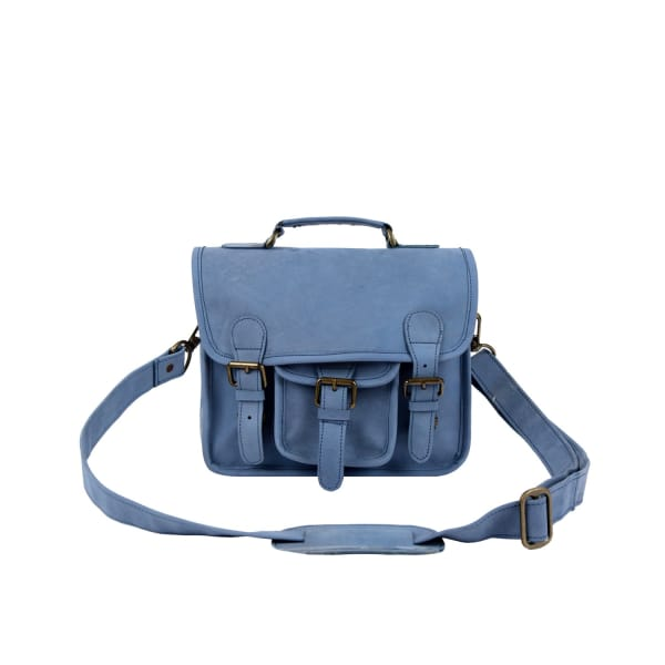 MAHI LEATHER Mini Pastel Blue Suede Harvard Satchel Messenger Handbag
