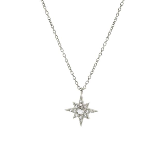 MONARC JEWELLERY Starburst Necklace Sterling Silver & White Topaz