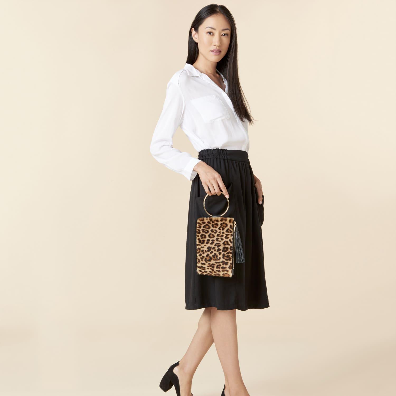 Nolita Clutch In Black   Leopard Shearling image 6f57bd1663113