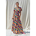 Gyal Stripes Print Kimono Multi Slits Dress image