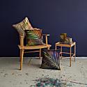 Green & Orange Palm Leaf Linen Cushion image