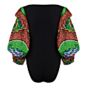 Naa African Print Bodysuit - Red Exaggerated Sleeve image