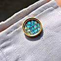 Hand Carved Rainbow Moonstone & Labradorite Set In Gold Cufflinks image