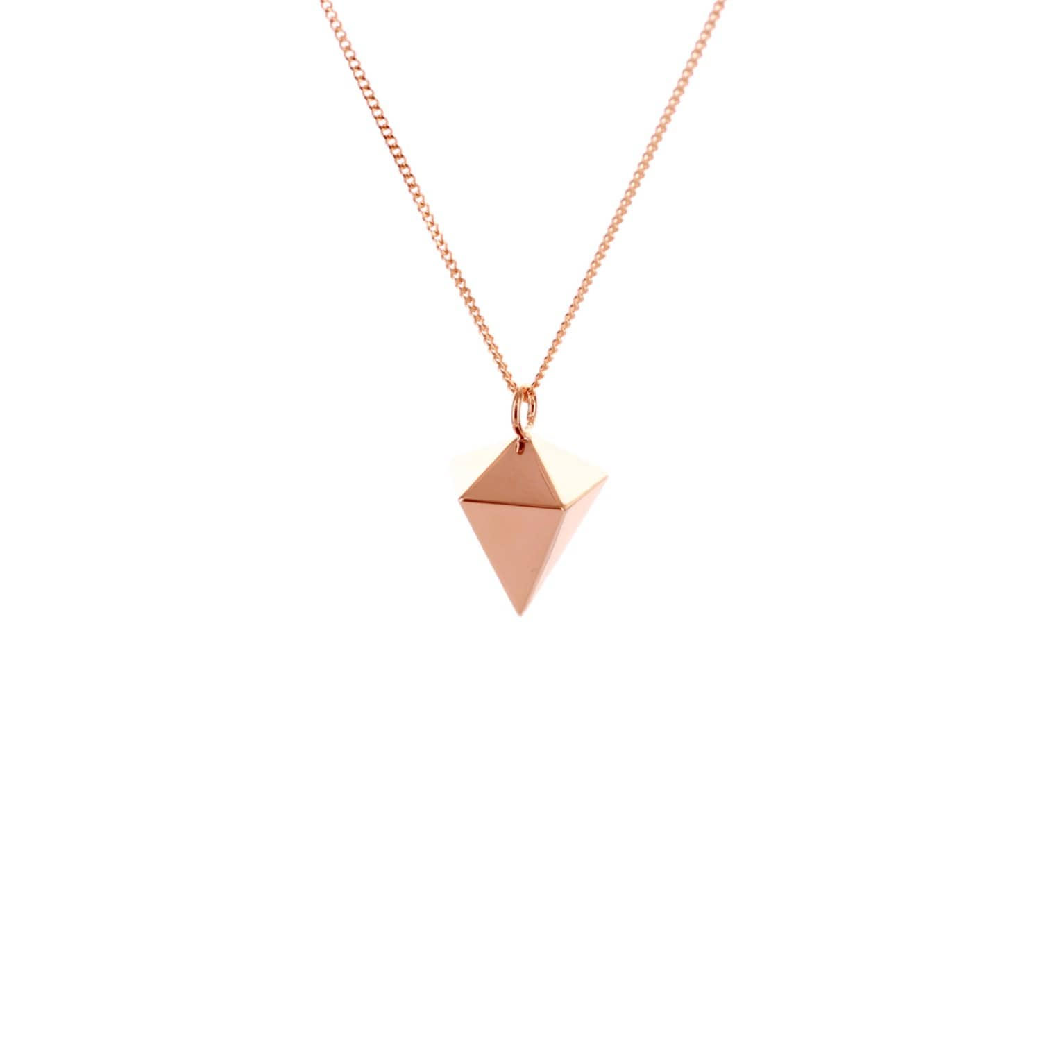 Origami Jewellery Sterling Silver Pink Gold Plated Decagem Necklace 1UiwgsB