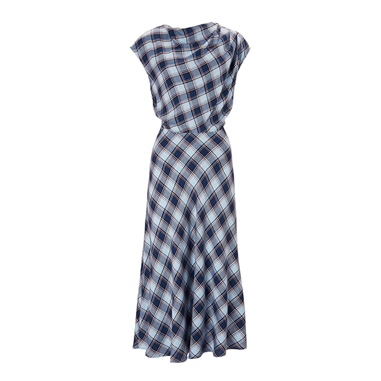 061ae2255b738 Harper Dress In Blue & Orchre Check | Baukjen | Wolf & Badger