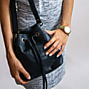 Mini Bucket Drawstring Bag In Ebony Black Leather image
