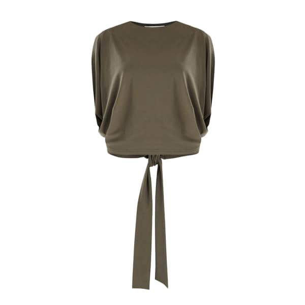 PAISIE Oversized Batwing Top with Tie Back in Green