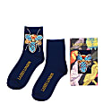 Navy Blue Bamboo Socks With Crystal Bug Brooch image