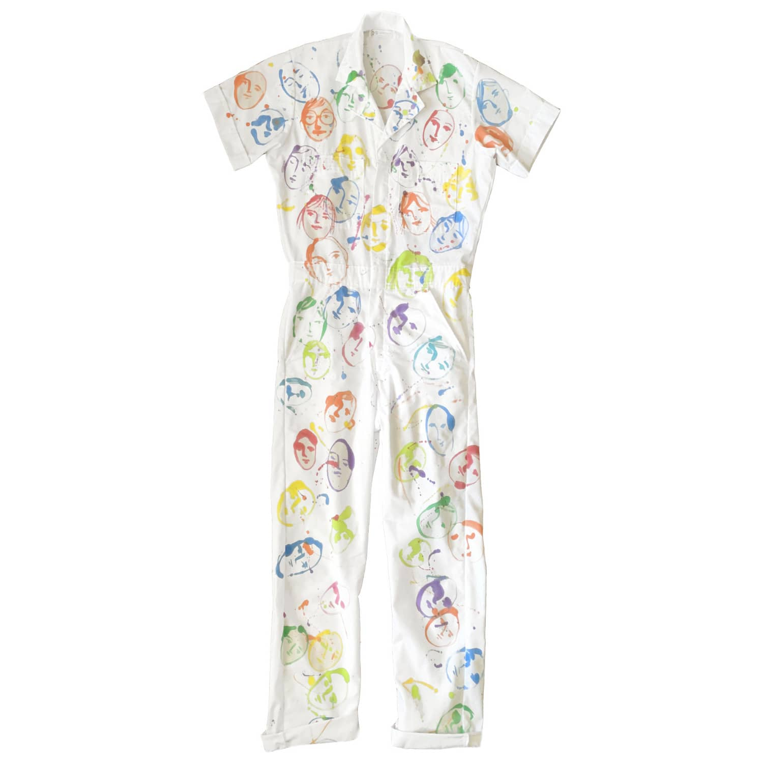 New* Lucky Cat Jumpsuit Hand-dyed Hand-painted
