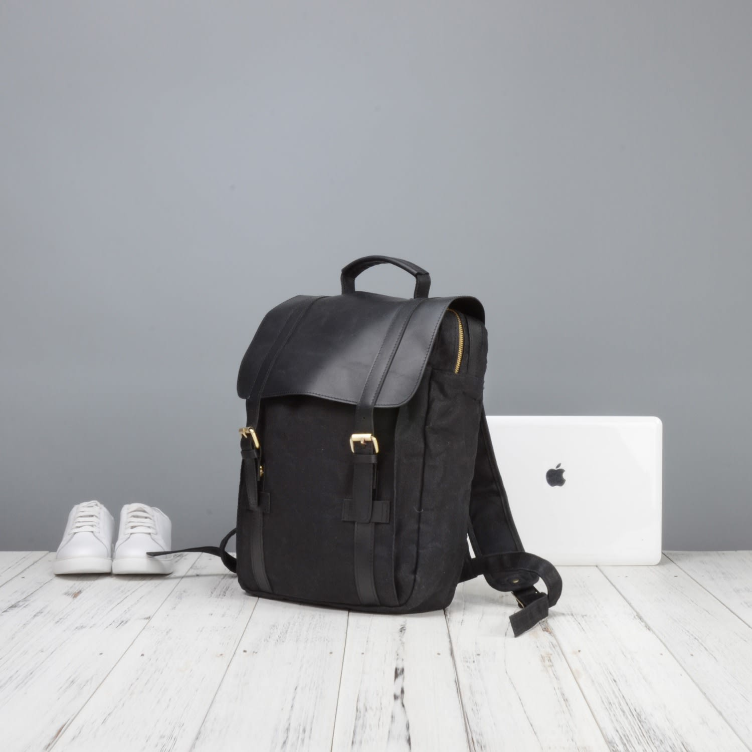ef8e7ec7a73 Waxed Canvas and Leather Backpack in Black | EAZO | Wolf & Badger