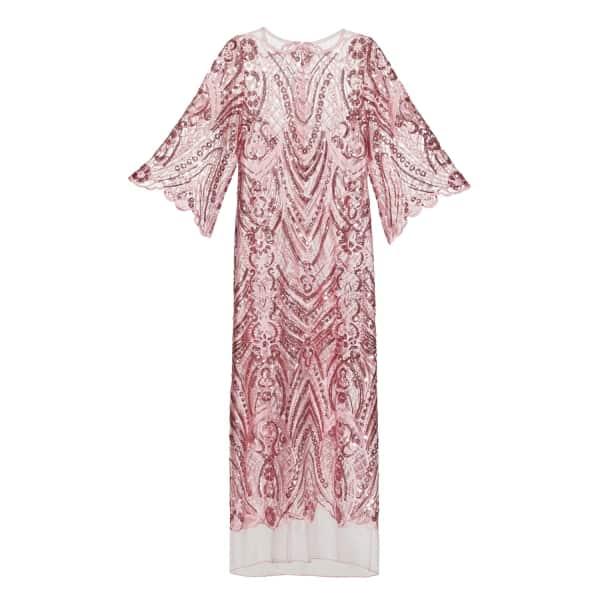 JIRI KALFAR Pink Sequin Embroidered Dress