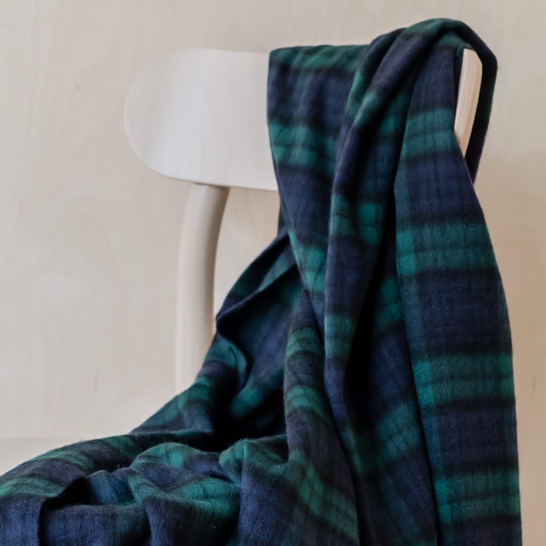 Image of: Cashmere Blanket In Black Watch Tartan The Tartan Blanket Co Wolf Badger