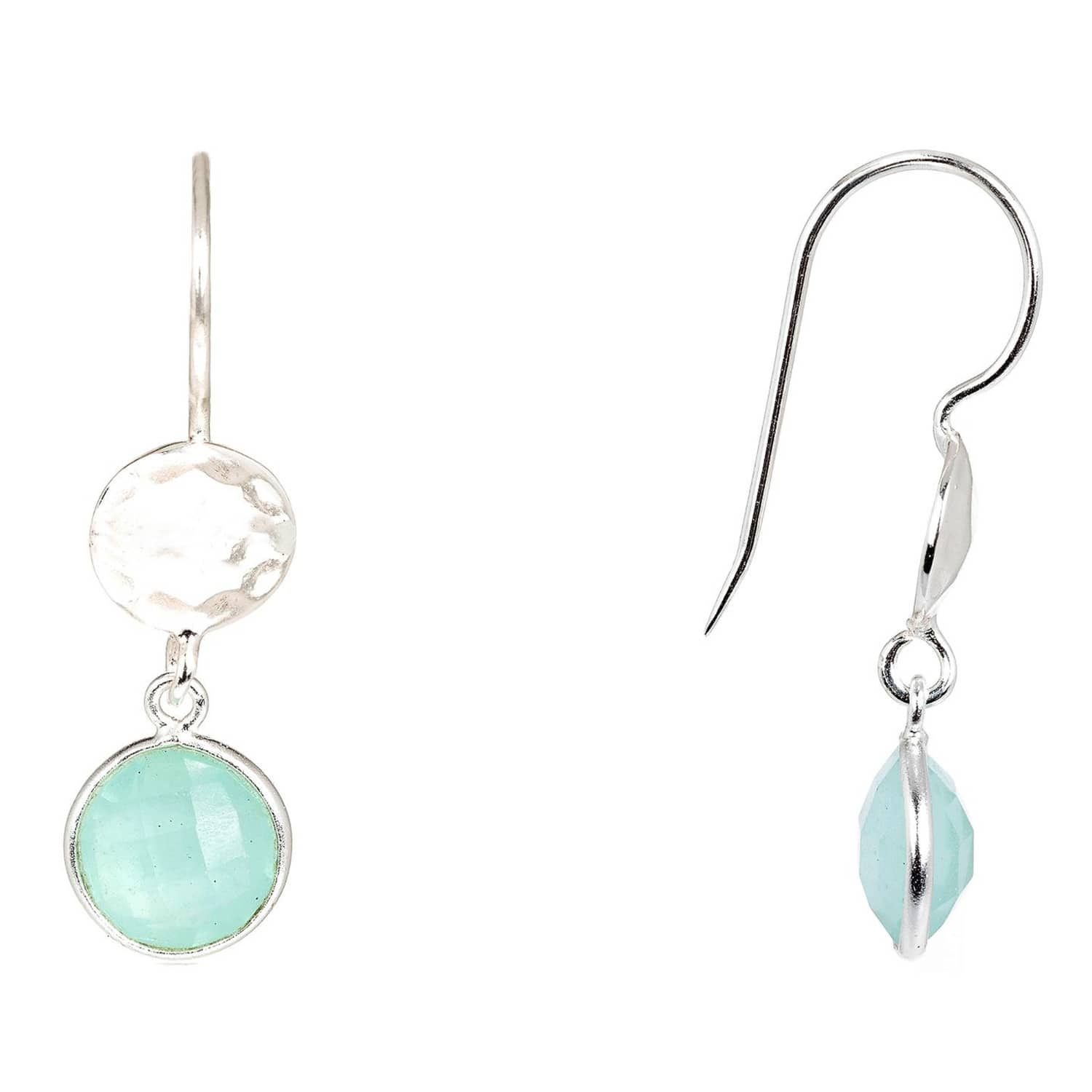 Latelita London Circle And Hammer Earring Silver Aqua Chalcedony YFTxE