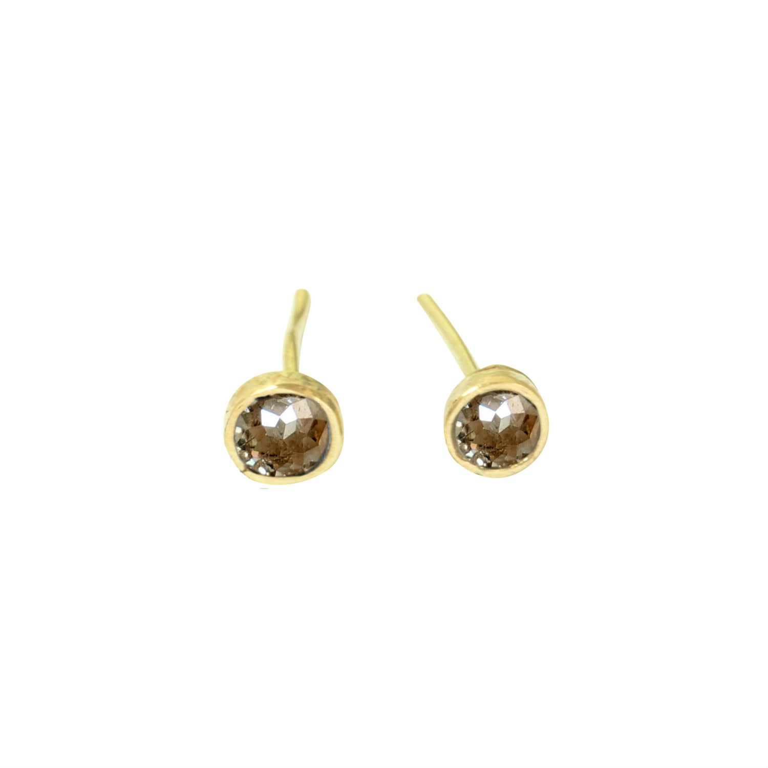 Lily Flo Jewellery - Champagne Rose Cut Diamonds On Solid Gold Stud Earrings
