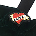 Amelia Taylor Large Forest Green Velvet Drawstring Tote Bag image