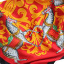 Kalighat Horse Silk Scarf Yellow & Red image