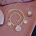 Hold On Rose Quartz Gold Chunky Chain Necklace image
